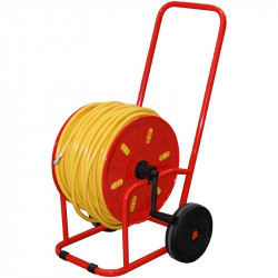 Complete Red Metal Hose Reel with 100m Microbore hose & fittings