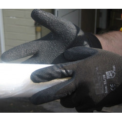 Latex black palm coated Gloves