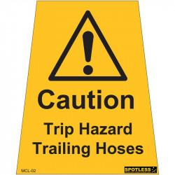 """Trip hazard trailing hose"" sticker"