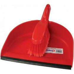 Red Professional Dustpan & STIFF Brush set