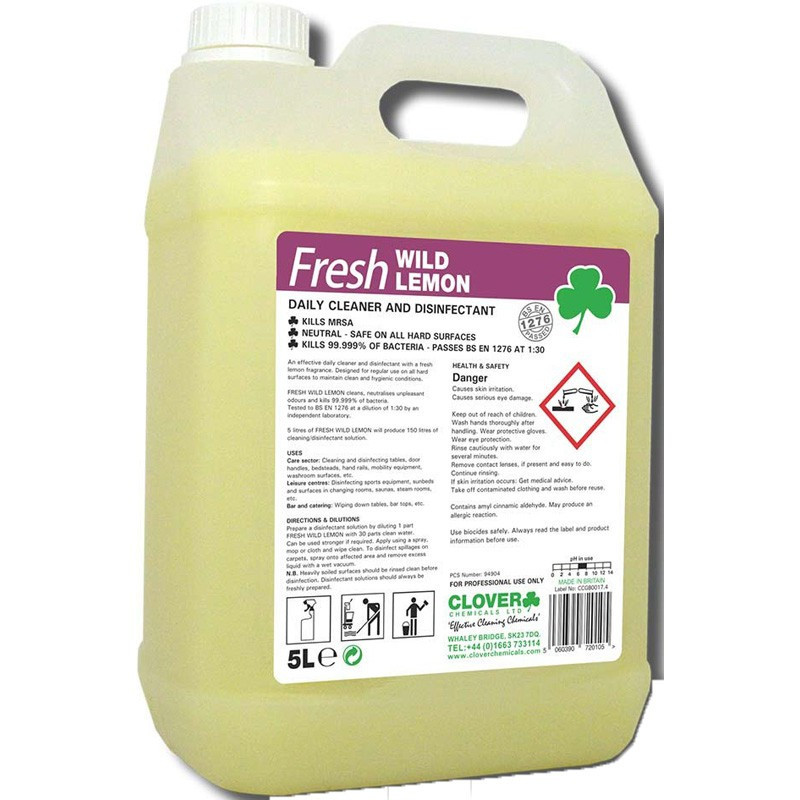 Clover Fresh Wild Lemon Daily Cleaner and Disinfectant 5L