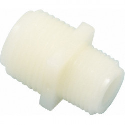 "Unequal plastic nipple 3/8"" - 1/2"" male threads"