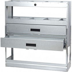 2 drawer & 2 shelf galvanised steel racking unit with dividers
