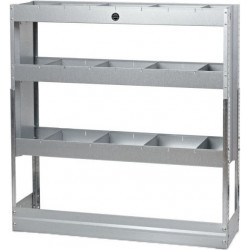3 shelf galvanised steel racking unit with dividers