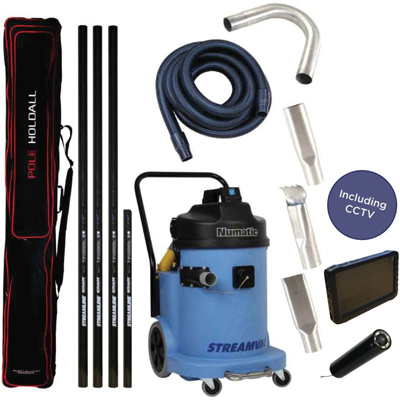 Streamvac Gutter vacuum system 230V with pole and CCTV kit