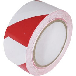 33m X 50mm Zebra red and white hazard tape roll