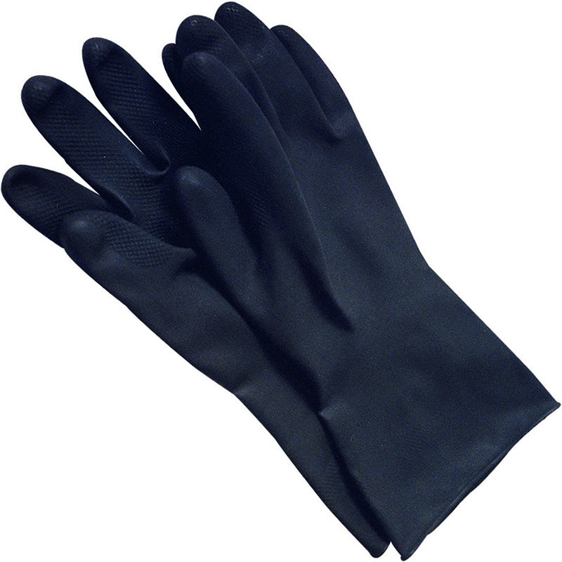Black Industrial Rubber Gloves - M