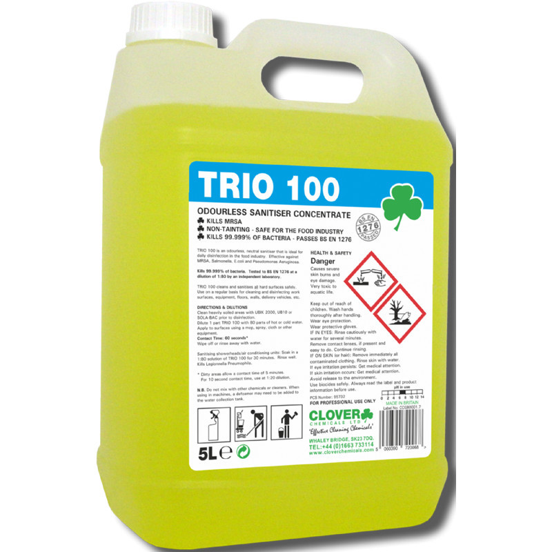 Clover Trio 100 Hard Surface Sanitiser/Cleaner 5L