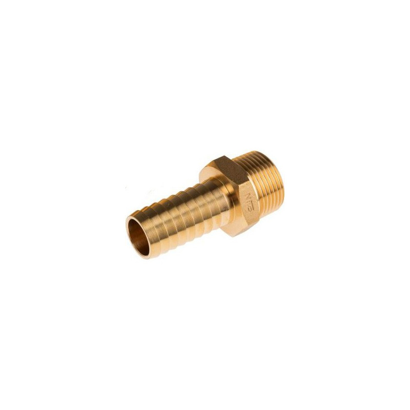 "Brass hose barb 1/2"" - 3/8"" thread"