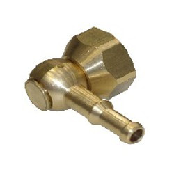 90 degree brass swivel connector with barb